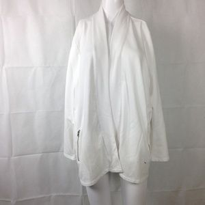 Talbots White Open Jersey Cardi Top Sz 2X